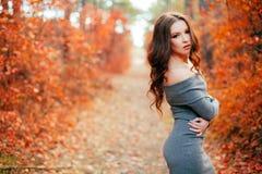 年轻性感的妇女在秋天森林里 免版税库存图片
