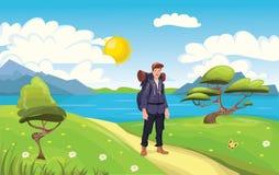 年轻愉快的人,海边的背包徒步旅行者 远足者,探险家 也corel凹道例证向量 向量例证