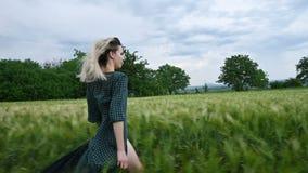 年轻愉快的白肤金发的女孩在一块绿色麦田跑在晚上以雨天空为背景 o 影视素材