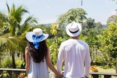 年轻握手的夫妇佩带的帽子后面背面图看美好的热带风景 免版税库存照片