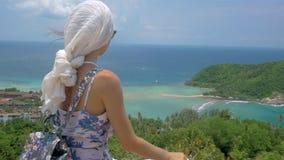 年轻旅游妇女坐在美好的海海湾风景观点  股票视频