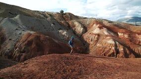 年轻旅游妇女简而言之和一件衬衣有背包的沿巨大的美好的红色峡谷50 fps的边缘走 股票视频