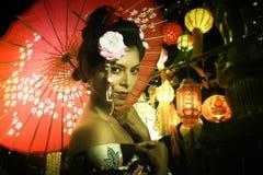 年轻日本夫人画象  免版税库存照片