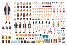 年轻时髦的女人创作集合或DIY成套工具 设置身体细节,时髦的便服,姿态,面孔,姿势 向量例证