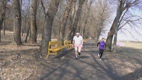 年轻有胡子的人和亭亭玉立的在种族的,一种健康生活方式,春天,慢动作公园跑的女孩教练 股票视频