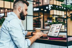年轻有胡子的人在咖啡馆,键入坐有图的膝上型计算机,图表,在屏幕上的图 博客作者在咖啡馆工作 免版税库存图片