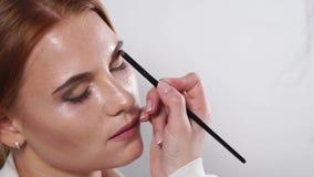年轻模型的化妆师的面孔和手有刷子的,特写镜头 股票录像