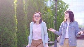 年轻残疾妇女以在拐杖的伤害连同朋友和谈话微笑 股票视频