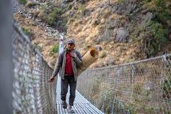 年轻牧羊人横渡的brigde 免版税库存照片
