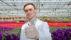 年轻男性科学家或农艺师一件白色外套的以床为背景与花自温室 股票录像