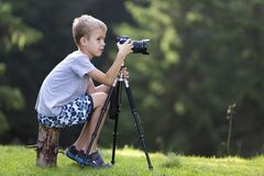 年轻白肤金发的儿童男孩坐在象草的清除的t的树桩 免版税库存照片
