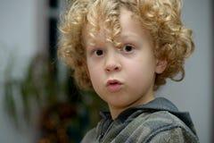 年轻白肤金发的卷曲男孩画象  库存图片