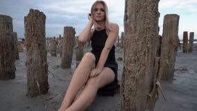年轻白肤金发的妇女Sittinf围拢与在盐峡湾,多云天气海岸的利益  影视素材