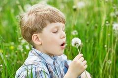 年轻白肤金发的男孩在吹在蒲公英种子的草甸 免版税库存图片