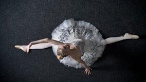 年轻端庄的妇女芭蕾舞女演员剪影在分裂滴下,舒展概念,芭蕾概念,顶面射击 股票录像