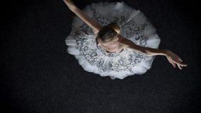 年轻端庄的妇女芭蕾舞女演员剪影芭蕾舞短裙的跳舞,芭蕾概念,运动概念,顶面射击 影视素材