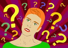 年轻红色头发欧洲人想法的站立在问号下 传染媒介平的动画片例证字符象 免版税库存照片