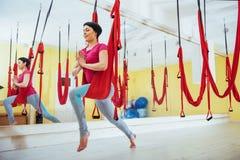 年轻美丽的与一个吊床的女子实践的瑜伽飞行在明亮的演播室 飞行,健身,舒展,平衡 免版税库存图片