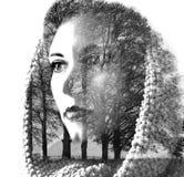 年轻美丽的女孩两次曝光在叶子和树中的 可爱的夫人画象与树的照片结合了 免版税库存照片