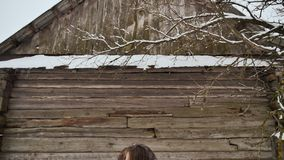 年轻美丽的女孩有乐趣投掷的雪,摆在照相机在冬天在木房子背景穿衣  股票视频