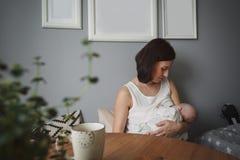 年轻美丽的妇女在一间舒适屋子哺乳一个小婴孩 免版税库存照片