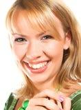 年轻美丽的妇女画象白色背景的 免版税库存照片