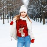 年轻美丽的时髦的女孩是在时尚被编织的温暖的葡萄酒 库存图片
