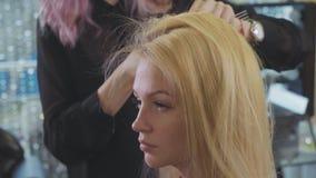 年轻美丽的理发师女孩增加容量发型到相当女性客户 股票视频