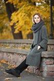 年轻美丽的白肤金发的妇女室外生活方式照片秋天秋天公园舒适围巾灰色葡萄酒外套的 影片过滤器作用 库存照片