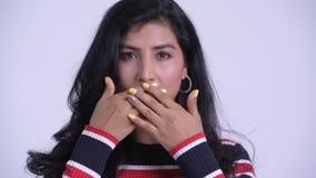 年轻美好波斯妇女显示的面孔不讲邪恶的概念 股票视频