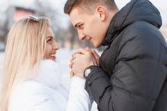 年轻美好的夫妇在一个冬日 库存照片