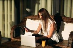 年轻美好的女孩用途在一个断裂期间的一台膝上型计算机在工作 蝴蝶日草夏天晴朗的swallowtail 库存图片