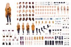 年轻肥胖弯曲的妇女或正大小女孩建设者或者DIY成套工具 套身体局部,表情,衣物 向量例证