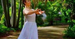 年轻芭蕾舞女演员实践的舞蹈在公园4k 影视素材