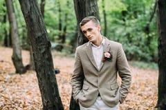 年轻英俊的人,站立在树附近 秋天婚礼 软绵绵地集中 免版税图库摄影