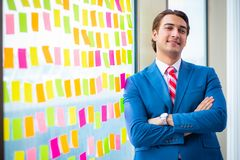 年轻英俊的雇员以许多矛盾的优先权 库存图片