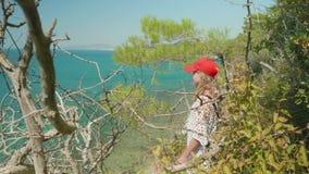 年轻长发金发碧眼的女人在从高树木繁茂的岸的海扔她的手和点某处 股票视频