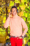 年轻非裔美国人的人听的音乐在中央公园,新 库存图片