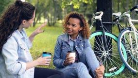 年轻非裔美国人的妇女与她的放松在美丽的白种人朋友和饮用的外带的咖啡聊天 股票视频