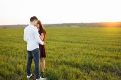 年轻,愉快,爱恋的夫妇,在日落,站立在一个绿色领域,反对天空,在胳膊和开心, advertis 免版税库存照片