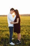 年轻,愉快,爱恋的夫妇,在日落,站立在一个绿色领域,反对天空,在胳膊和看彼此,广告 库存照片