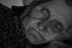 年迈的面孔老妇人 免版税图库摄影