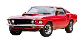 1969年野马Mach1颜色红色 免版税库存图片