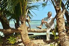 年长人坐树干 免版税库存照片