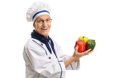 年长厨师用胡椒 库存照片