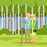 年长夫妇走在公园的,平的传染媒介例证 免版税库存照片