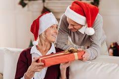 年长妇女画象那个采取的礼物 图库摄影
