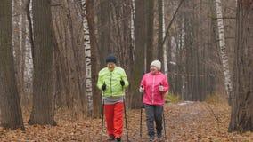 年长妇女的健身在秋天公园-走在秋天公园中的北欧人 免版税图库摄影
