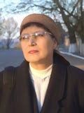 年长戴了眼镜妇女 图库摄影