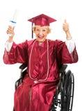 年长的人毕业轮椅 图库摄影